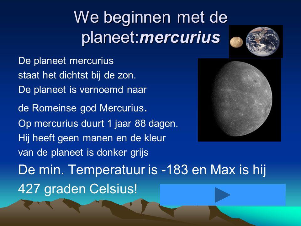 We beginnen met de planeet:mercurius