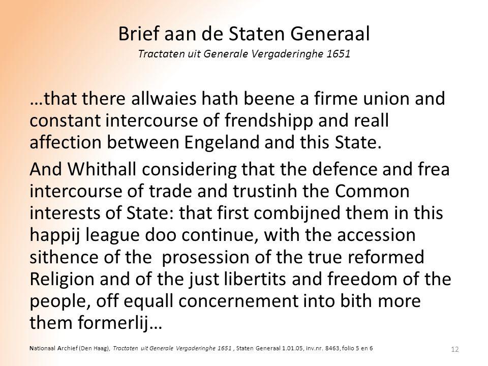 Brief aan de Staten Generaal Tractaten uit Generale Vergaderinghe 1651