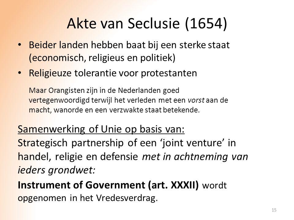 Akte van Seclusie (1654) Samenwerking of Unie op basis van: