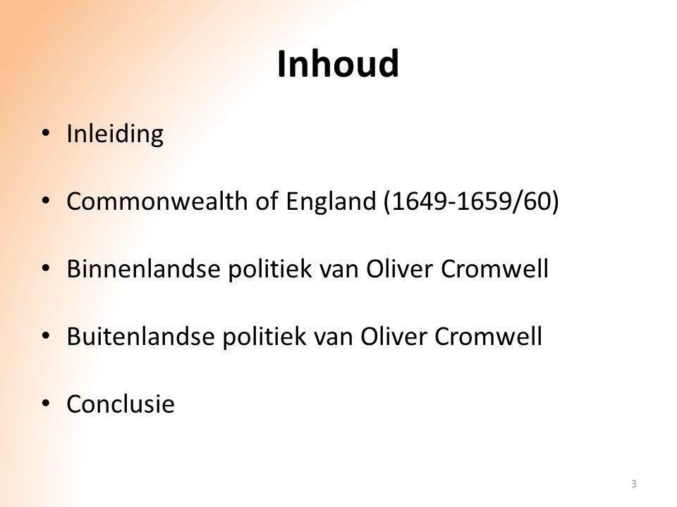 Inhoud Inleiding Commonwealth of England (1649-1659/60)