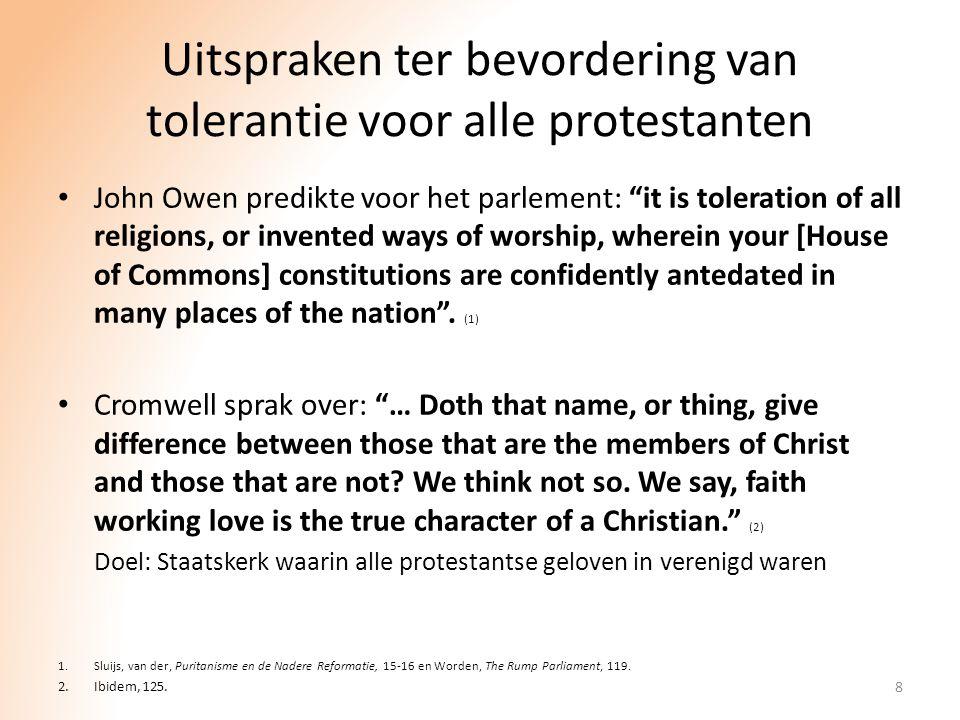 Uitspraken ter bevordering van tolerantie voor alle protestanten
