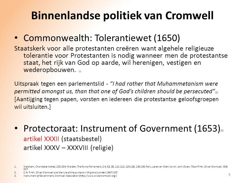 Binnenlandse politiek van Cromwell