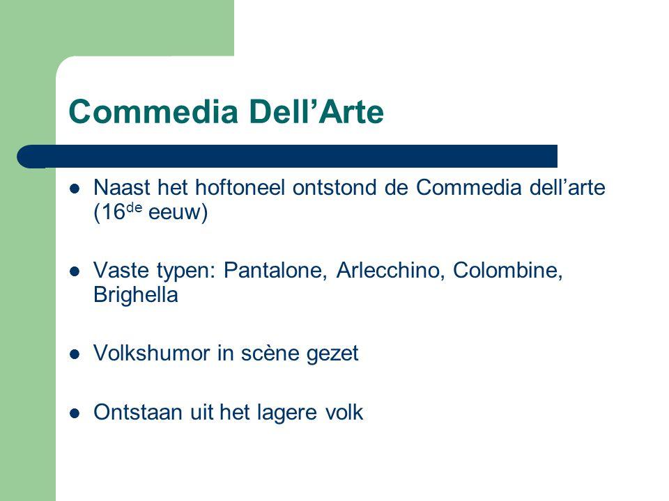 Commedia Dell'Arte Naast het hoftoneel ontstond de Commedia dell'arte (16de eeuw) Vaste typen: Pantalone, Arlecchino, Colombine, Brighella.