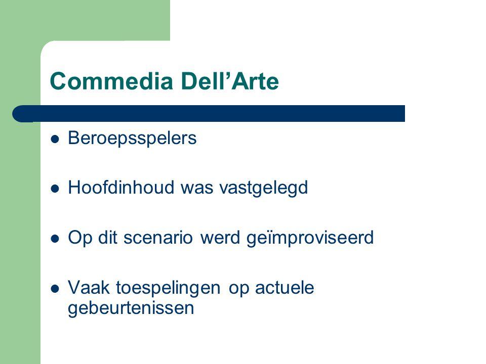 Commedia Dell'Arte Beroepsspelers Hoofdinhoud was vastgelegd