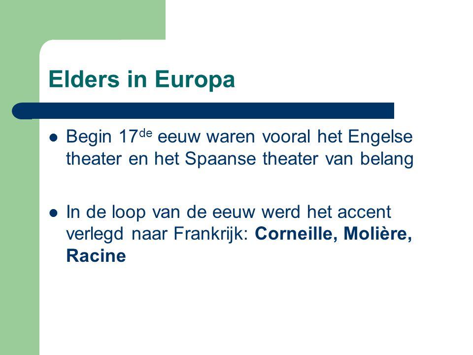 Elders in Europa Begin 17de eeuw waren vooral het Engelse theater en het Spaanse theater van belang.