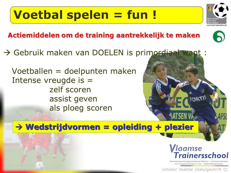 Voetbal spelen = fun ! Actiemiddelen om de training aantrekkelijk te maken.  Gebruik maken van DOELEN is primordiaal want :