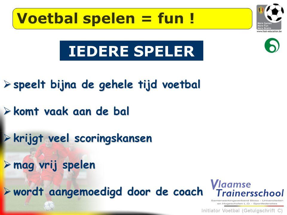 Voetbal spelen = fun ! IEDERE SPELER