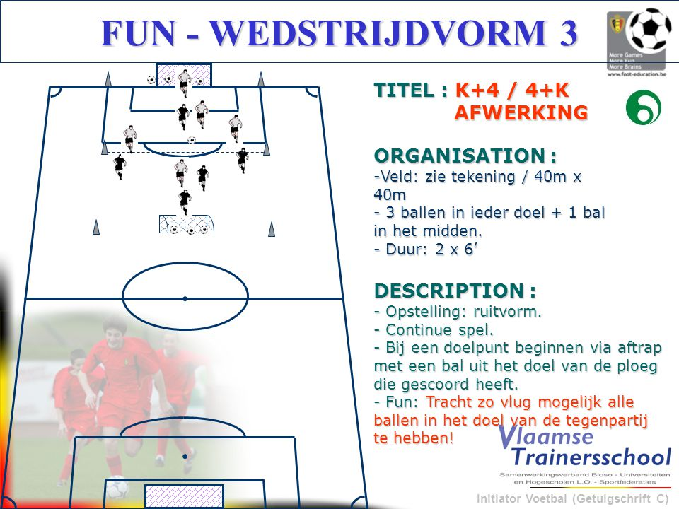 FUN - WEDSTRIJDVORM 3 TITEL : K+4 / 4+K AFWERKING ORGANISATION :