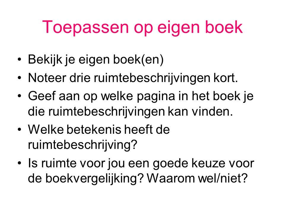 Toepassen op eigen boek