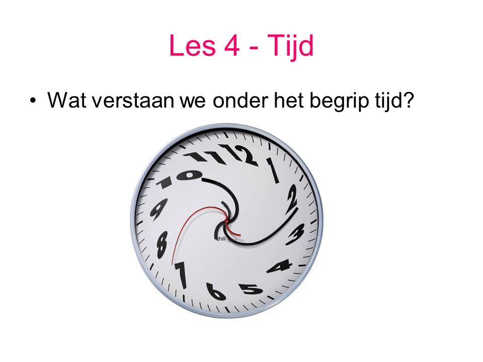Les 4 - Tijd Wat verstaan we onder het begrip tijd