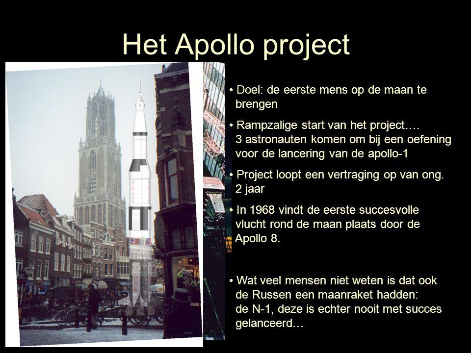Het Apollo project Doel: de eerste mens op de maan te brengen