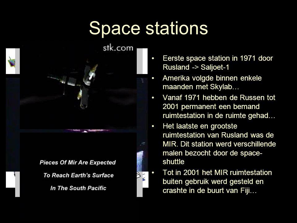 Space stations Eerste space station in 1971 door Rusland -> Saljoet-1. Amerika volgde binnen enkele maanden met Skylab…