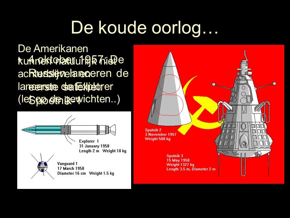 De koude oorlog… De Amerikanen kunnen natuurlijk niet achterblijven en lanceren de Explorer (let op de gewichten..)