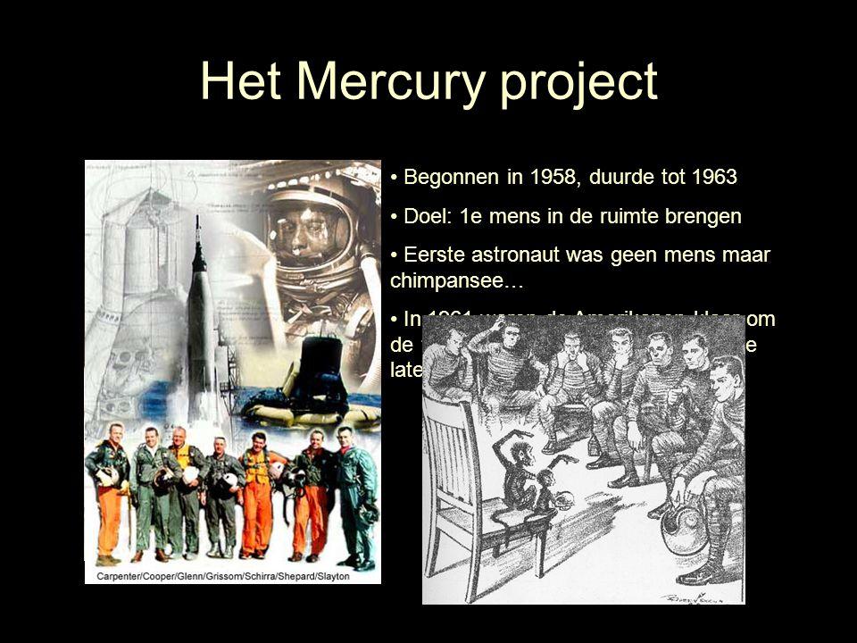 Het Mercury project Begonnen in 1958, duurde tot 1963