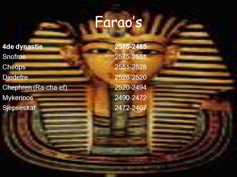 Farao's 4de dynastie 2575-2465 Snofroe 2575-2551 Cheops 2551-2528