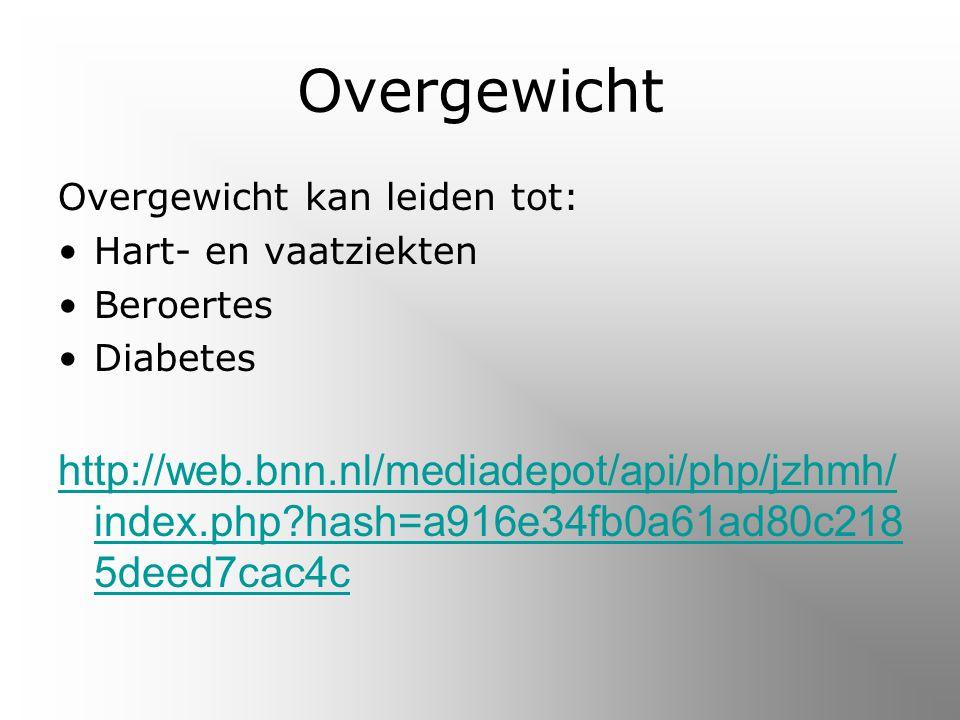 Overgewicht Overgewicht kan leiden tot: Hart- en vaatziekten. Beroertes. Diabetes.