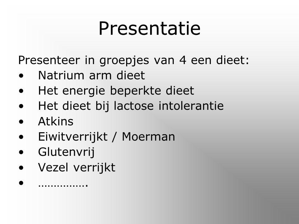 Presentatie Presenteer in groepjes van 4 een dieet: Natrium arm dieet
