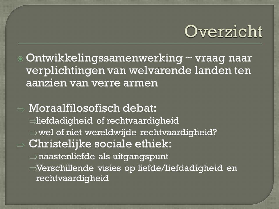 Overzicht Ontwikkelingssamenwerking ~ vraag naar verplichtingen van welvarende landen ten aanzien van verre armen.