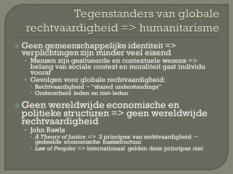 Tegenstanders van globale rechtvaardigheid => humanitarisme