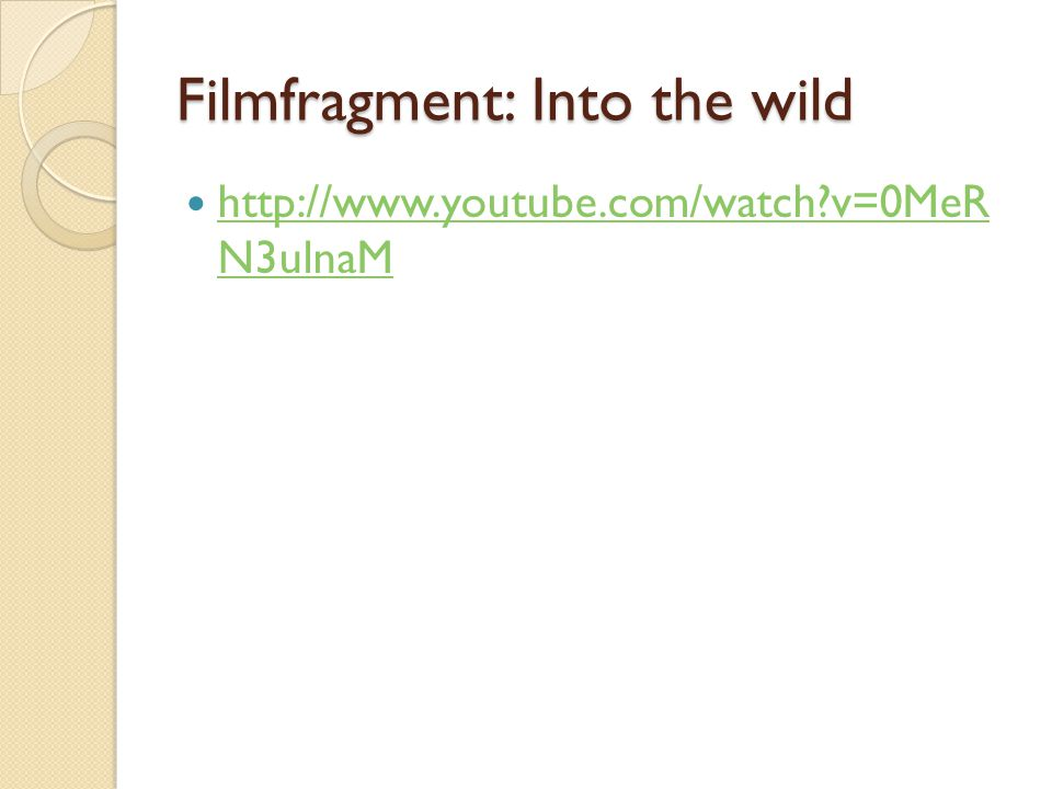 Filmfragment: Into the wild