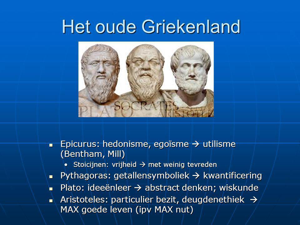 Het oude Griekenland Epicurus: hedonisme, egoïsme  utilisme (Bentham, Mill) Stoicijnen: vrijheid  met weinig tevreden.