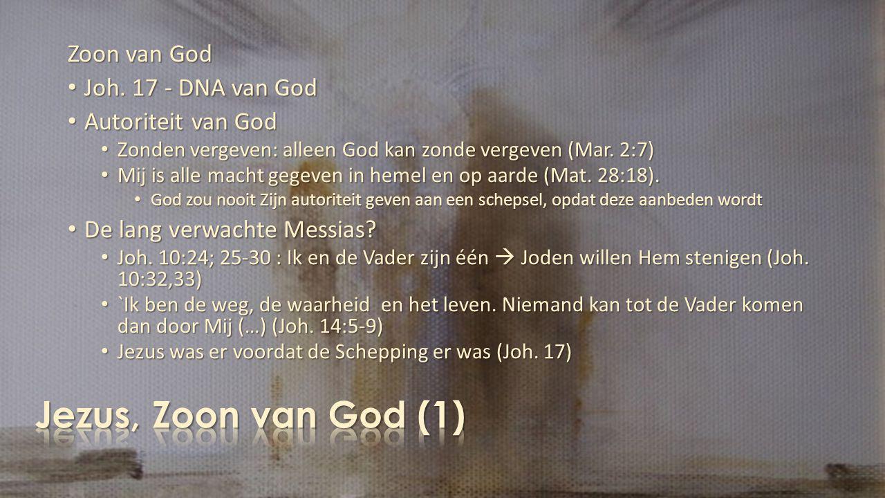 Jezus, Zoon van God (1) Zoon van God Joh. 17 - DNA van God