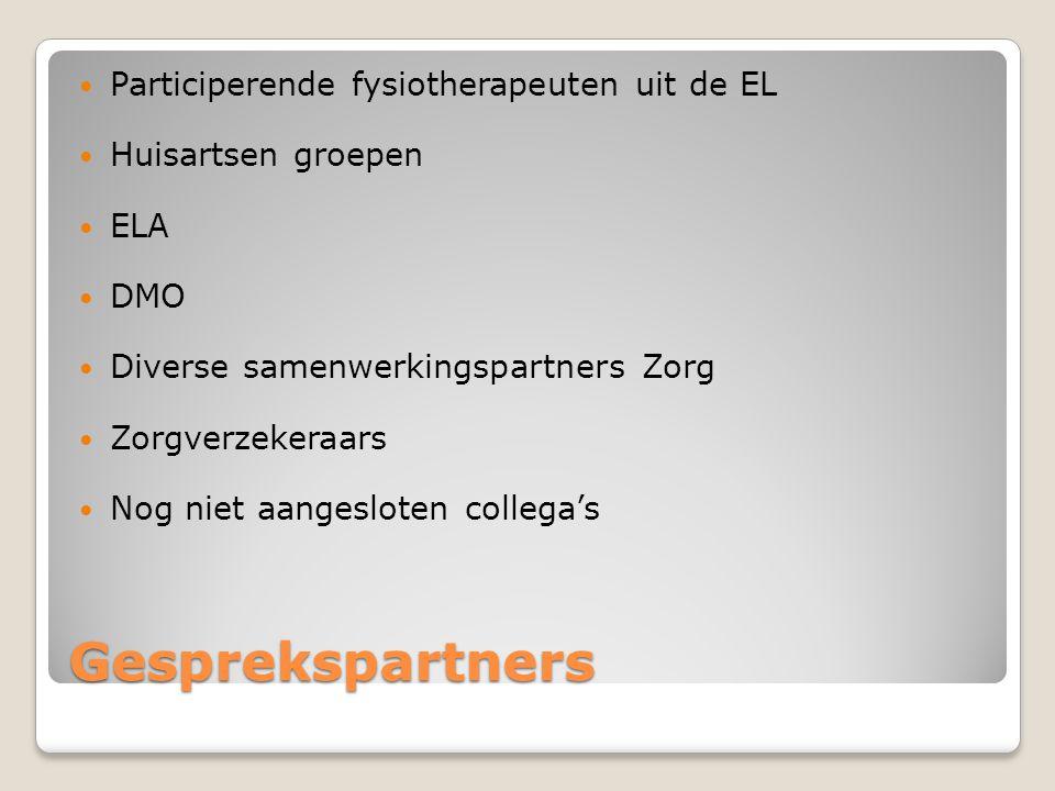Gesprekspartners Participerende fysiotherapeuten uit de EL
