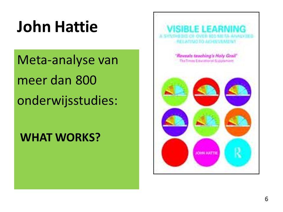 John Hattie Meta-analyse van meer dan 800 onderwijsstudies: