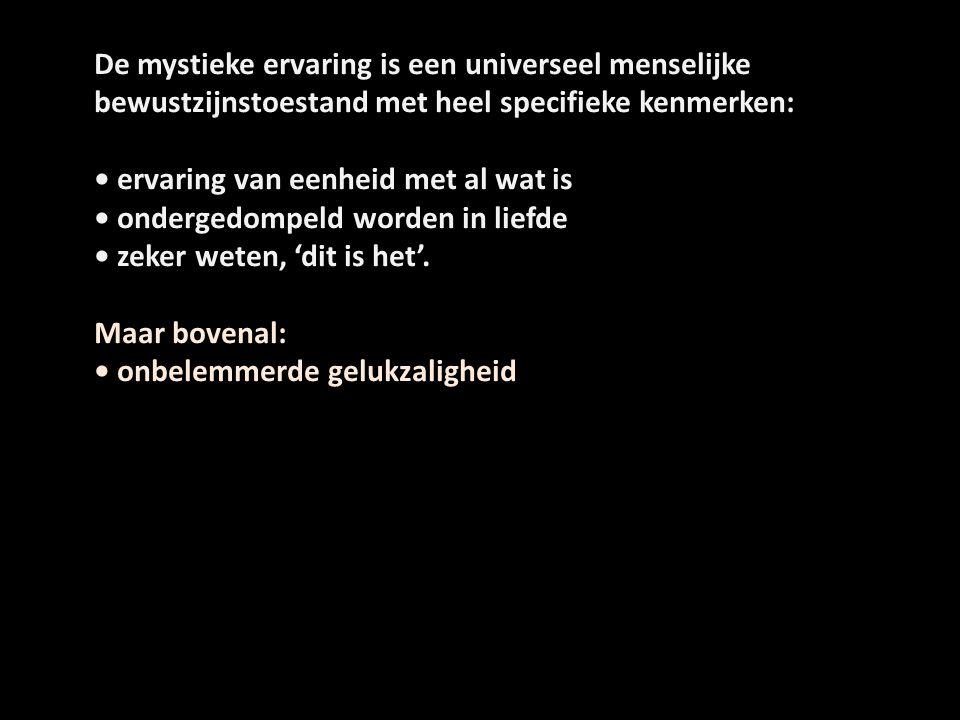 De mystieke ervaring is een universeel menselijke bewustzijnstoestand met heel specifieke kenmerken: