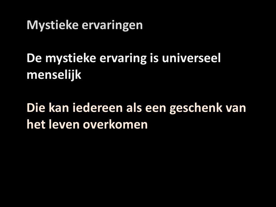 Mystieke ervaringen De mystieke ervaring is universeel menselijk. Die kan iedereen als een geschenk van het leven overkomen.