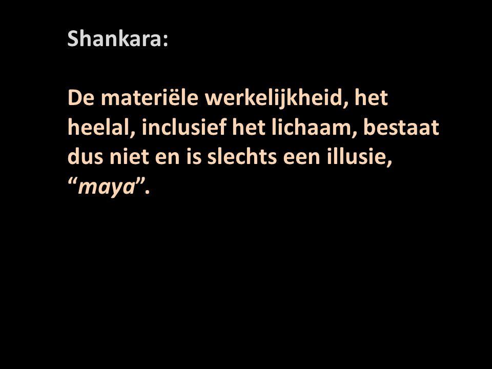 Shankara: De materiële werkelijkheid, het heelal, inclusief het lichaam, bestaat dus niet en is slechts een illusie, maya .