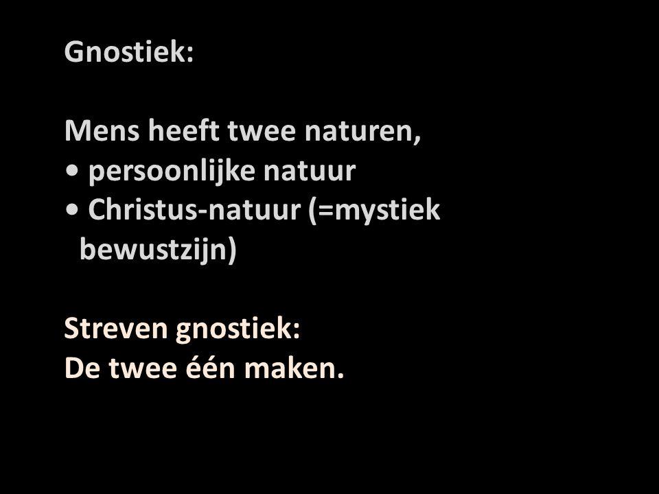 Gnostiek: Mens heeft twee naturen, • persoonlijke natuur. • Christus-natuur (=mystiek. bewustzijn)