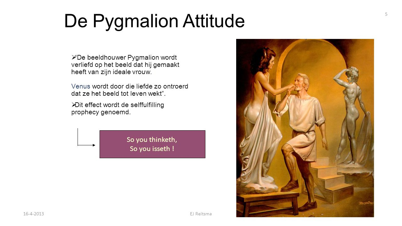 De Pygmalion Attitude So you thinketh, So you isseth !