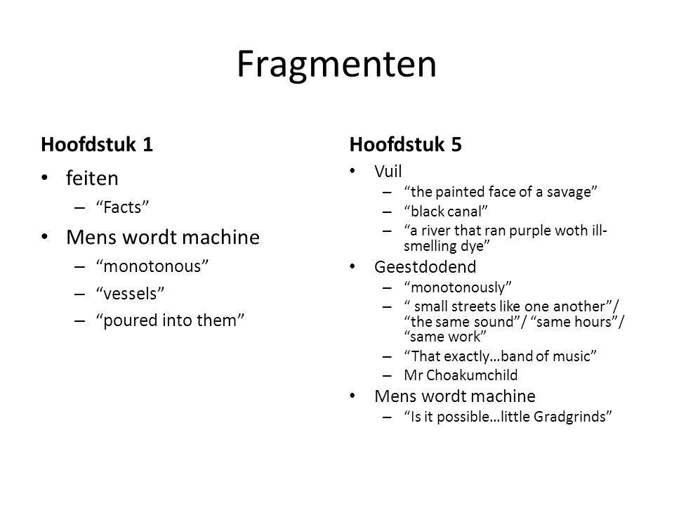 Fragmenten Hoofdstuk 1 Hoofdstuk 5 feiten Mens wordt machine Vuil