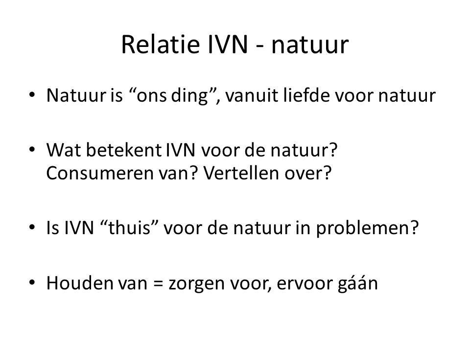 Relatie IVN - natuur Natuur is ons ding , vanuit liefde voor natuur