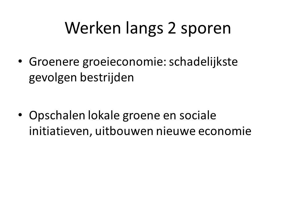 Werken langs 2 sporen Groenere groeieconomie: schadelijkste gevolgen bestrijden.