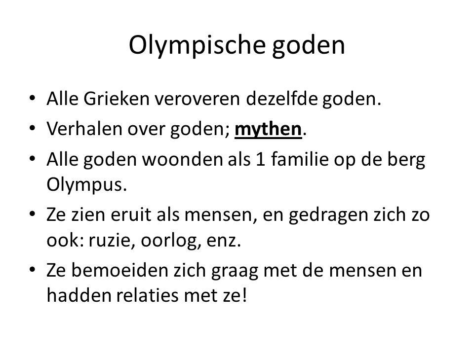 Olympische goden Alle Grieken veroveren dezelfde goden.