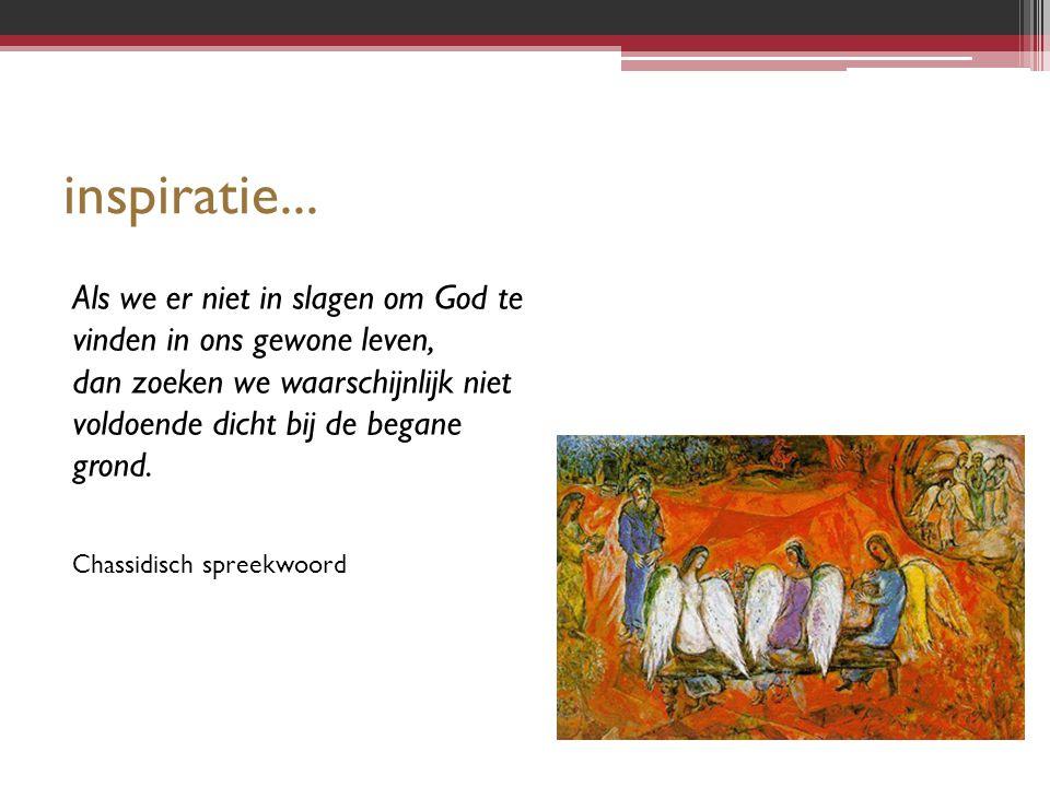 inspiratie... Als we er niet in slagen om God te vinden in ons gewone leven, dan zoeken we waarschijnlijk niet voldoende dicht bij de begane grond.