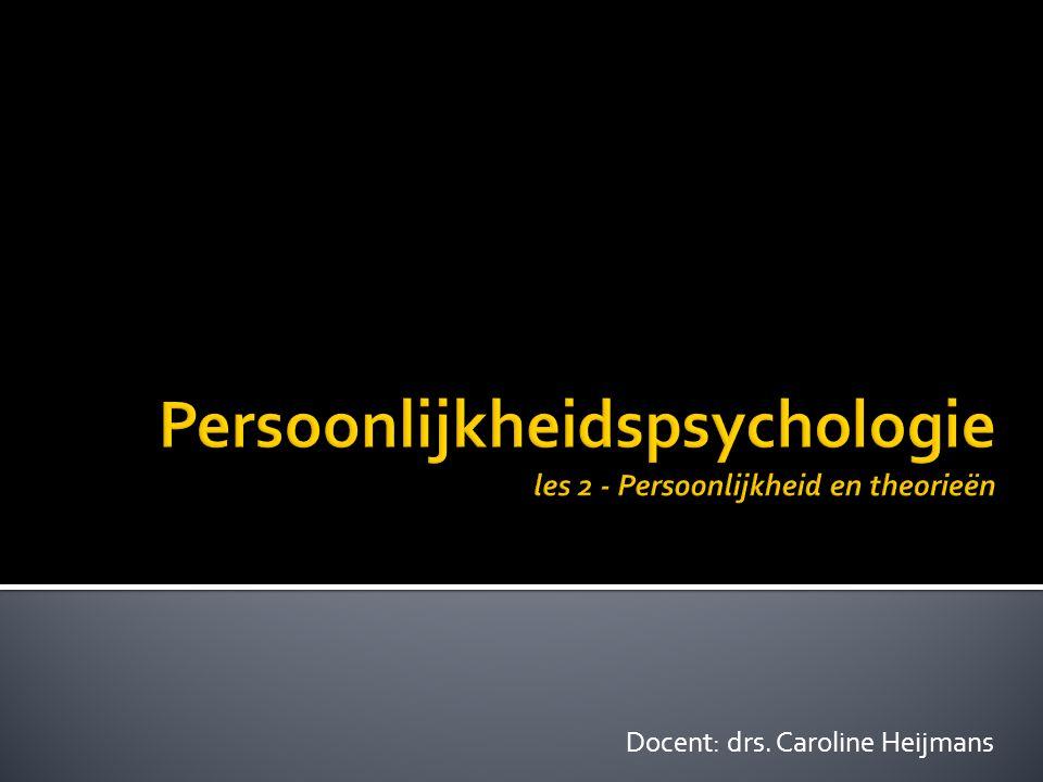 Persoonlijkheidspsychologie les 2 - Persoonlijkheid en theorieën
