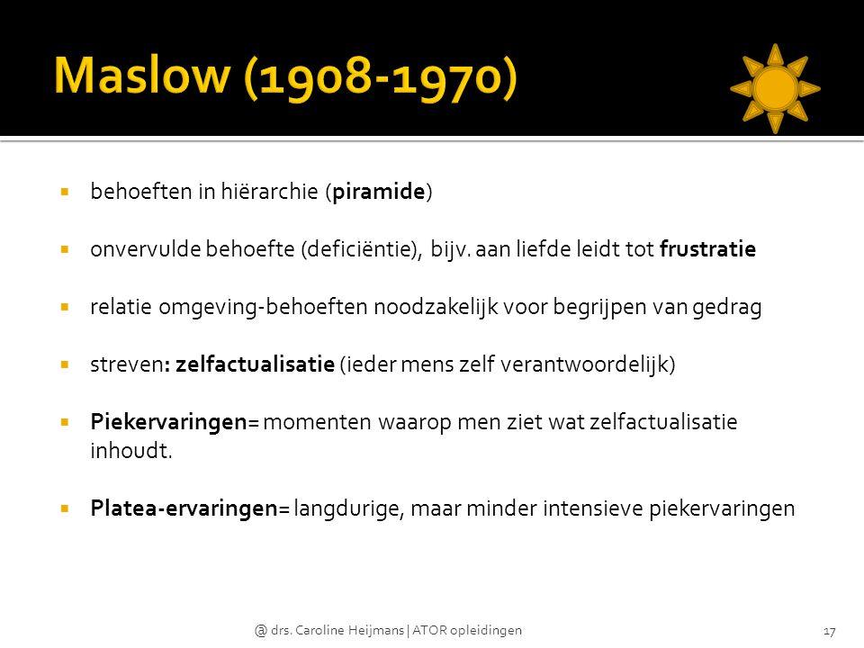 Maslow (1908-1970) behoeften in hiërarchie (piramide)