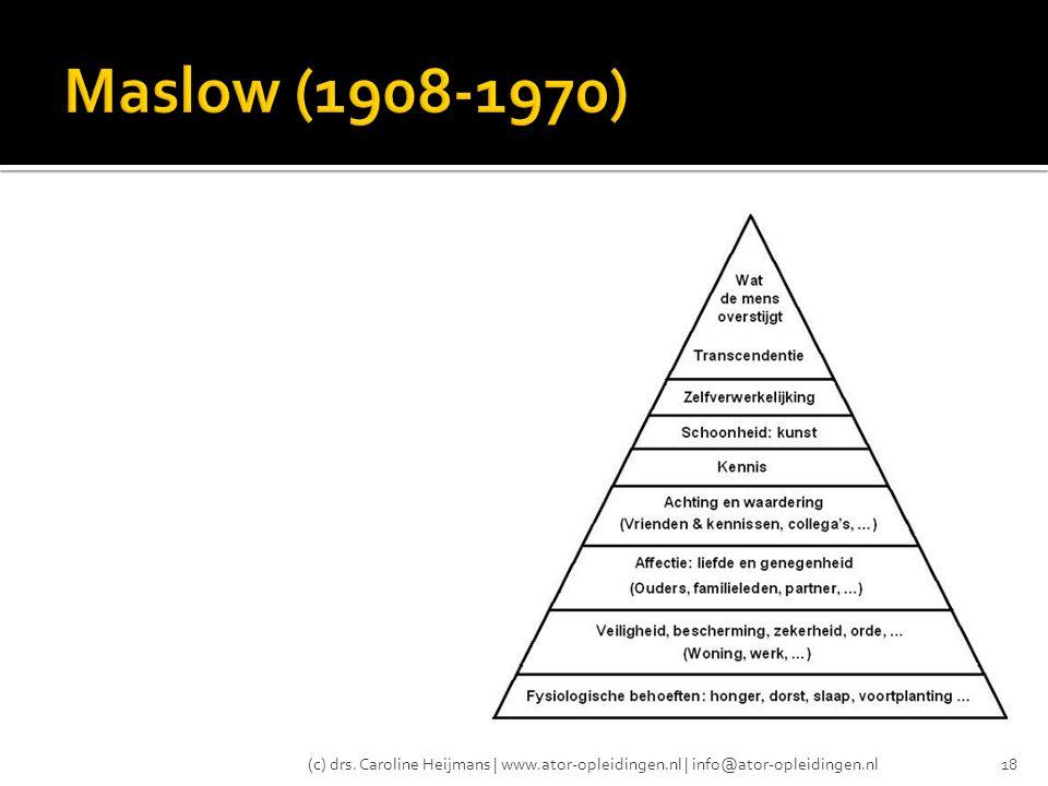 Maslow (1908-1970) (c) drs. Caroline Heijmans | www.ator-opleidingen.nl | info@ator-opleidingen.nl