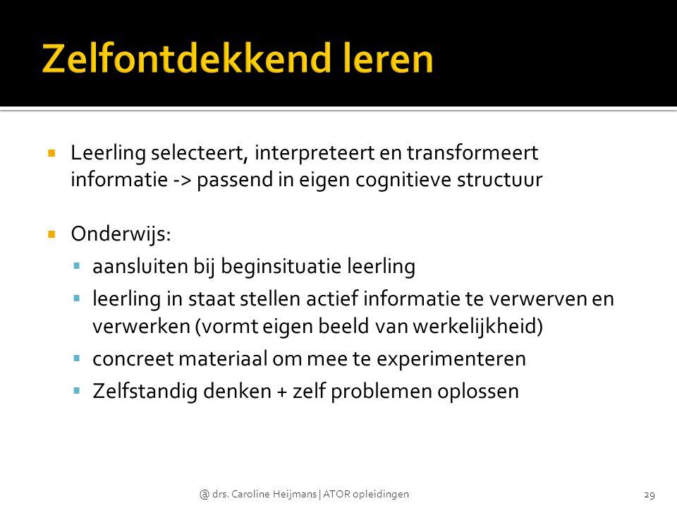 Zelfontdekkend leren Leerling selecteert, interpreteert en transformeert informatie -> passend in eigen cognitieve structuur.