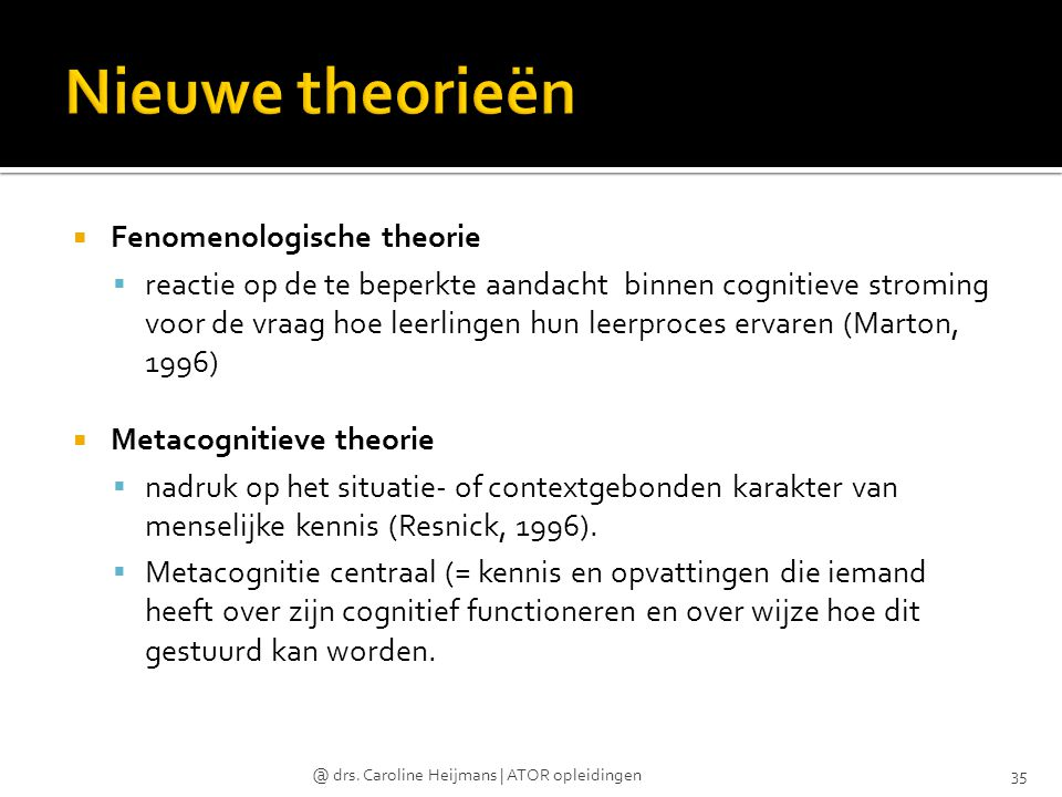 Nieuwe theorieën Fenomenologische theorie