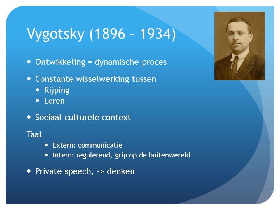 Vygotsky (1896 – 1934) Ontwikkeling = dynamische proces