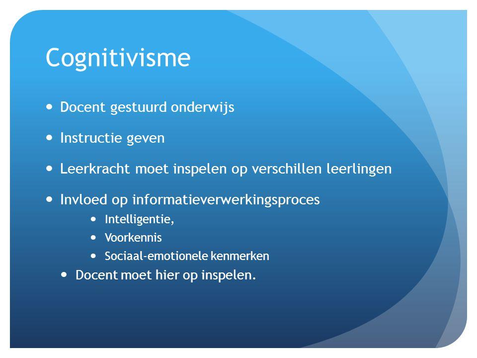 Cognitivisme Docent gestuurd onderwijs Instructie geven