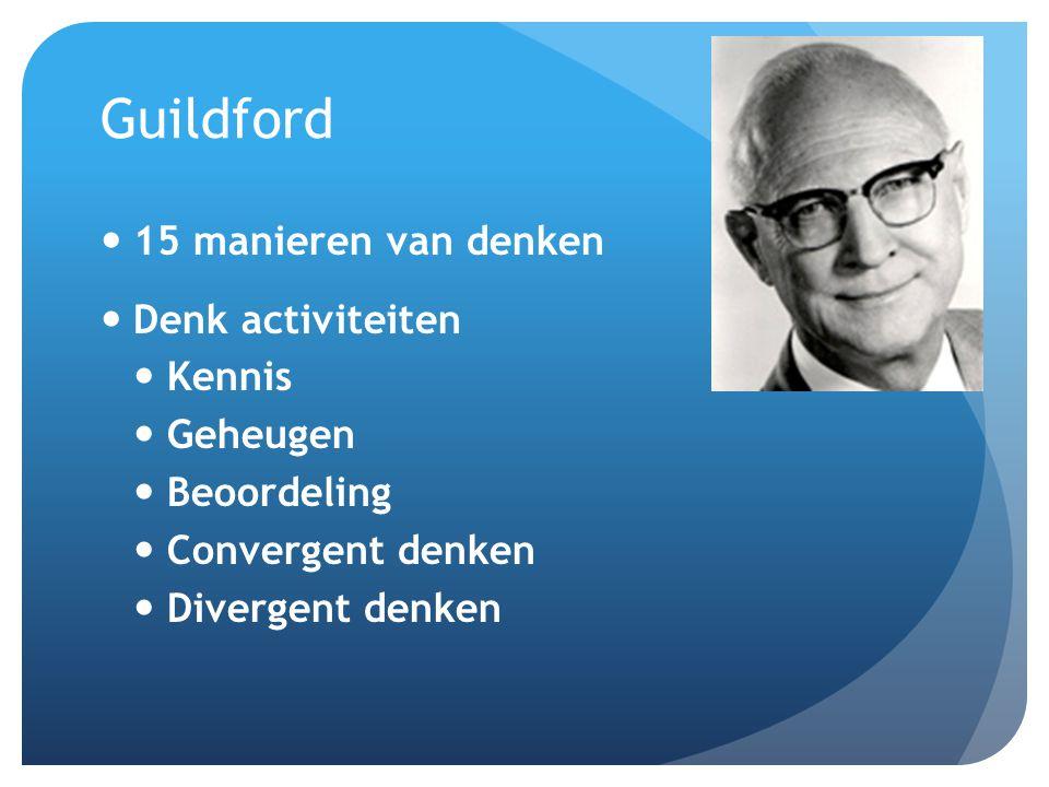 Guildford 15 manieren van denken Denk activiteiten Kennis Geheugen