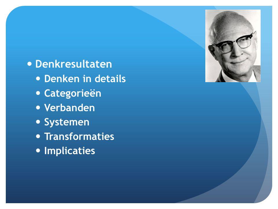 Denkresultaten Denken in details Categorieën Verbanden Systemen