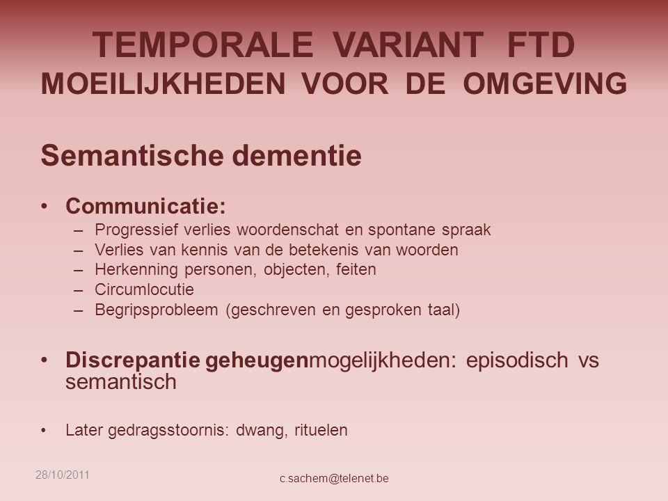 TEMPORALE VARIANT FTD MOEILIJKHEDEN VOOR DE OMGEVING