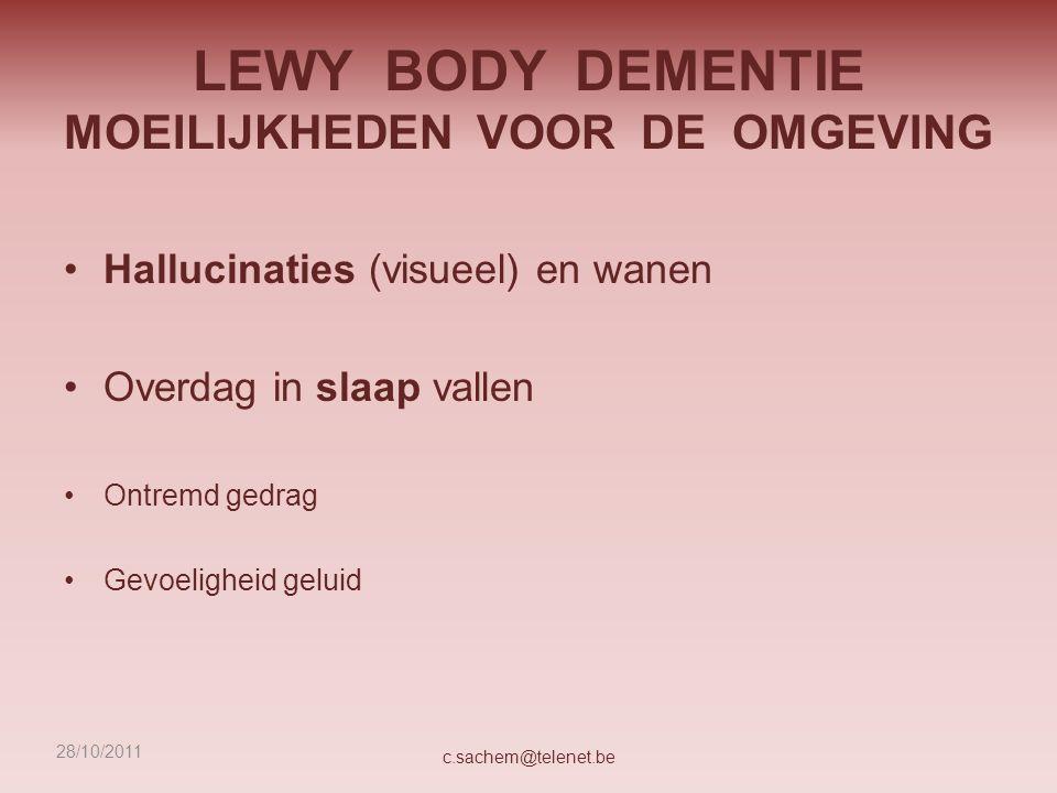 LEWY BODY DEMENTIE MOEILIJKHEDEN VOOR DE OMGEVING