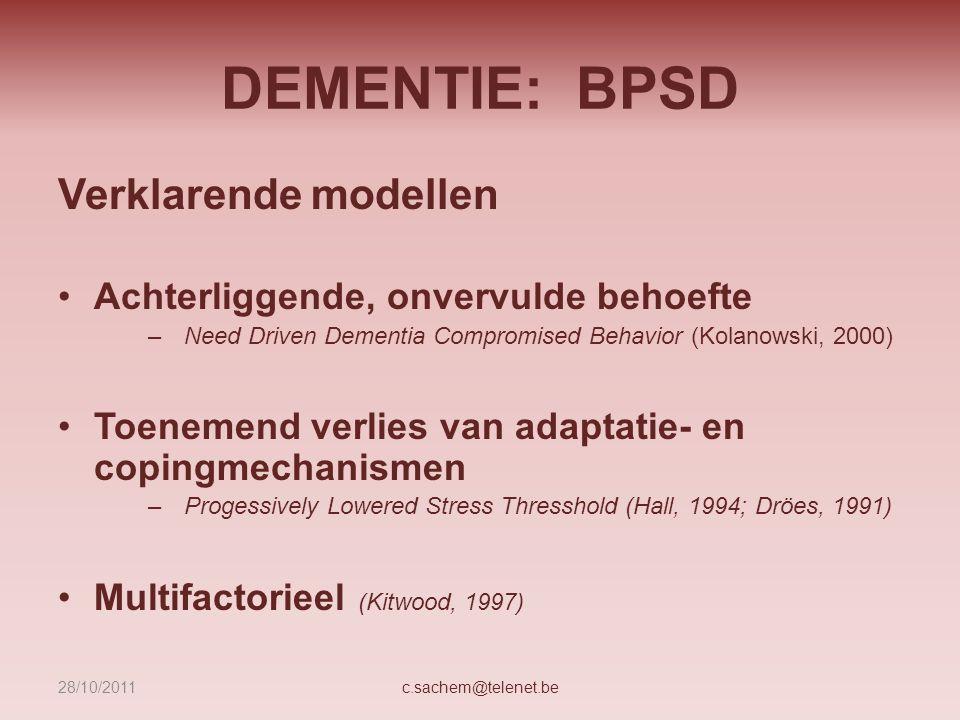 DEMENTIE: BPSD Verklarende modellen